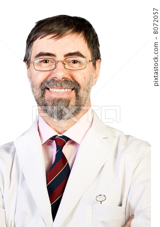 Closeup portrait of happy middle-aged dentist on a white backgro 8072057
