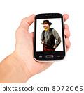 Hand holding smart phone, bad guy calling. isolated on white bac 8072065