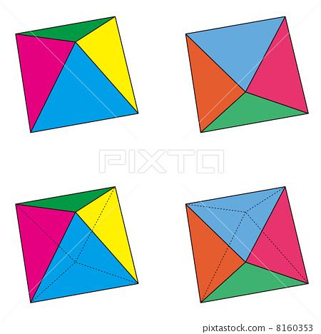 Four patterns of regular octahedron set 8160353