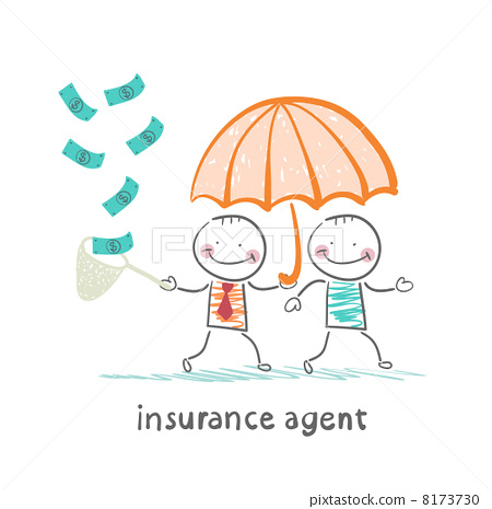 insurance agent protects human umbrella and collects a net cash 8173730