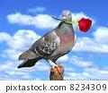 bird with a rose 8234309