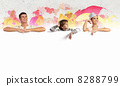 Happy young family with blank banner 8288799