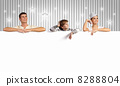 Happy young family with blank banner 8288804