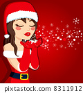 Brunette Blowing Christmas Magic 8311912