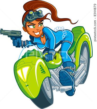Motorcycle Spy Girl 8344879