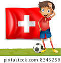 A football player in front of the flag of Switzerland 8345259