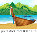 A beach with a wooden ship 8346706