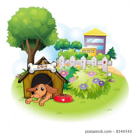 A dog inside a doghouse across the big buildings 8349543