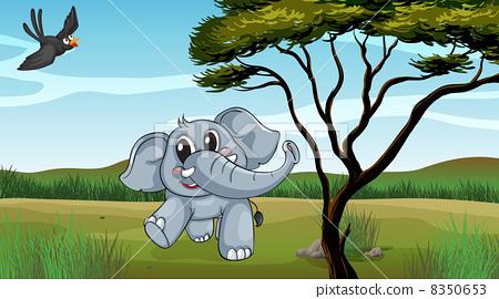 An elephant and a bird 8350653