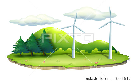 Windmills in the island 8351612