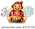 A monkey playing with the drum 8353799