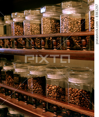 coffee beans on grocery shelves 8381297