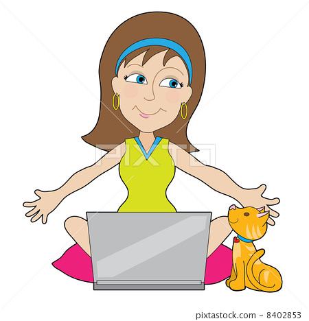 Happy Laptop Lady 8402853