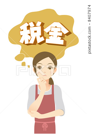 A woman thinking about tax 8407974