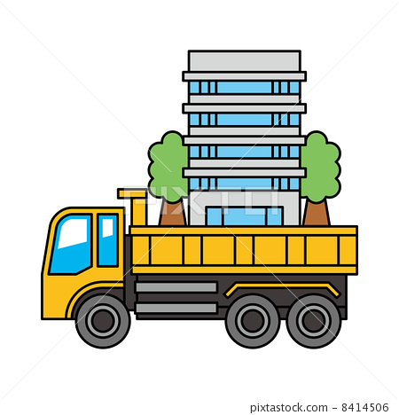 Dump truck carrying the building 8414506