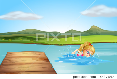 A girl swimming at the beach with a diving board 8417697