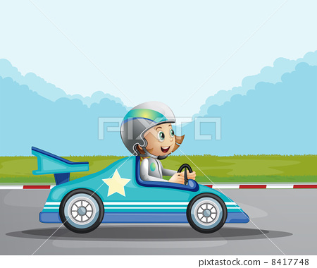 A happy girl in her blue racing car 8417748
