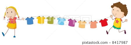Kids holding the tips of the wire for the hanging clothes 8417987