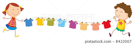 A girl and a boy holding the string with hanging clothes 8422007