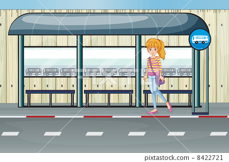 A girl at the bus stop 8422721