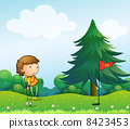 A girl playing golf in the hill 8423453