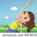 A cute little girl exercising 8424818