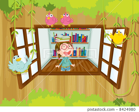 A girl at the tree house with books above her head 8424980