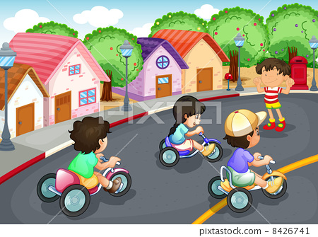 Kids playing on the road 8426741