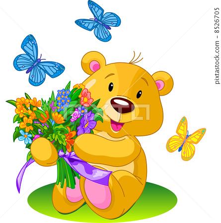 Bear Holding Bouquet 8526705