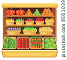 Supermarket. Vegetables and fruits. 8561039