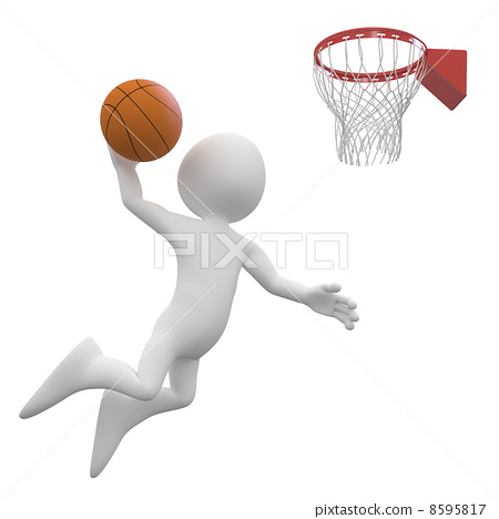 Basketball player making a dunk in the basket 8595817