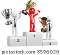 3D businessman white people. Winner on podium 8596026
