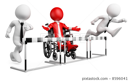 3D businessman white people. Barriers at work for disabled 8596041