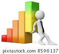 3D business white people. Economy bar graph 8596137