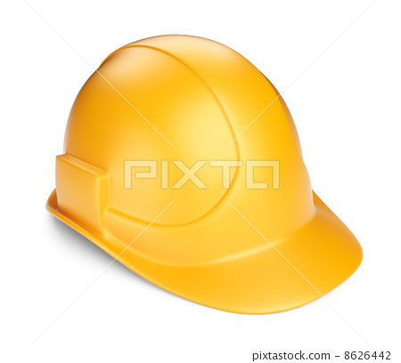 Yellow hardhat 3D. Construction tool. Icon isolated on white bac 8626442