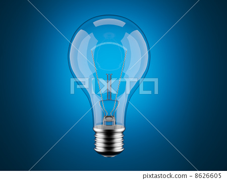 Light bulb 3d on blue background. Innovation, imagination 8626605