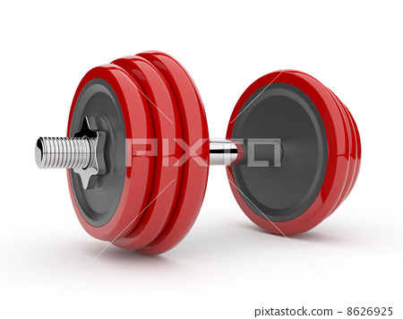 Red dumbbell 3D. Isolated on white background 8626925