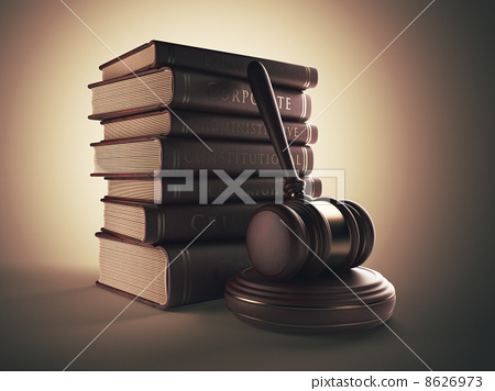 Wooden gavel with book. LAW concept. 3D illustration 8626973