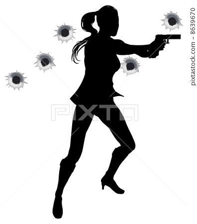 Woman action hero in gun fight silhouette 8639670