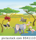 Cute African safari animal cartoon scene 8641110