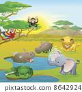 Cute African safari animal cartoon scene 8642924