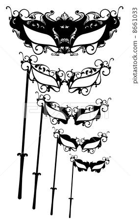 beautiful masquerade masks vector set - black and white elegant outlines 8661033