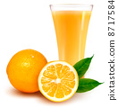 Fresh orange and glass with juice. Vector illustration. 8717584