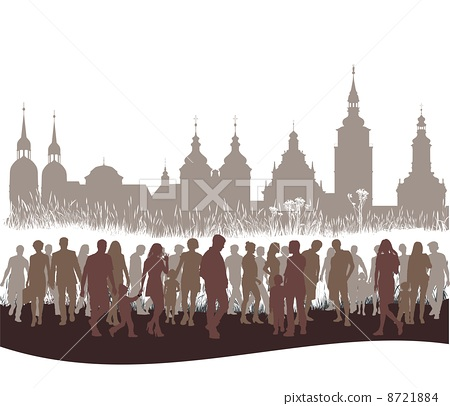 Group of people before city 8721884