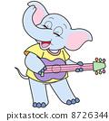 Cartoon Elephant Playing a Guitar 8726344