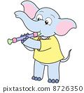 Cartoon Elephant Playing an Oboe 8726350