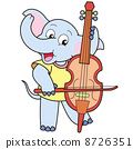 Cartoon Elephant Playing a Cello 8726351