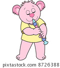 Cartoon Bear Playing an Oboe 8726388