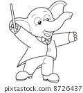 Cartoon Elephant music conductor. 8726437