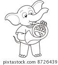 Cartoon Elephant Playing a French Horn 8726439